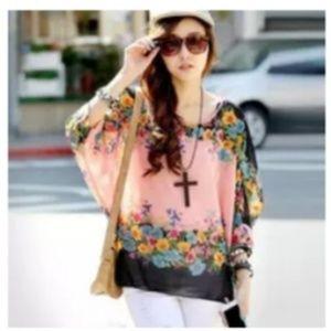 Pink & black floral flowy kimono tunic blouse